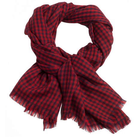 Checkered pashmina shawl in red and navy