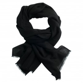 Black pashmina stole in diamond weave