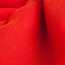 Coral red pashmina stole in diamond weave