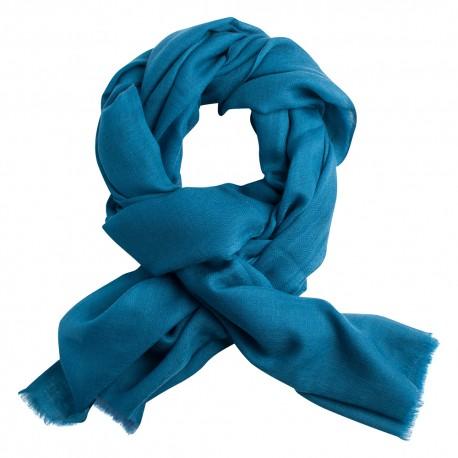 Steel blue pashmina stole in diamond weave