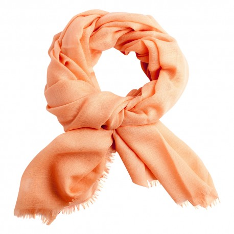 Peach pashmina stole in diamond weave