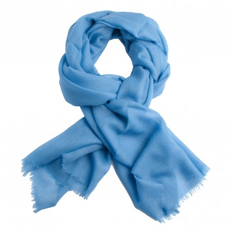 Sky blue pashmina stole in diamond weave