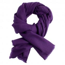 Dark purple cashmere scarf in twill weave