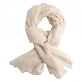Off white cashmere scarf in twill weave
