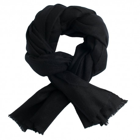 Black pashmina scarf in twill weave