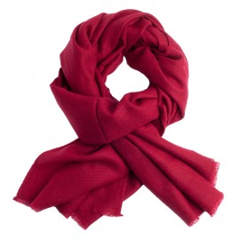 Maroon cashmere scarf in twill weave