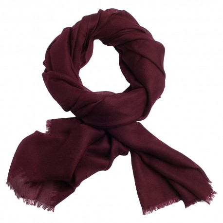 Maroon pashmina shawl in 2 ply twill weave