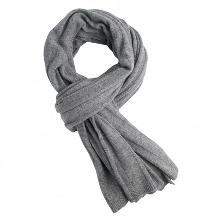 Light grey knitted cashmere scarf