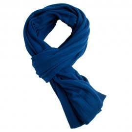 Dark blue scarf knitted in cashmere