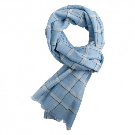 Blue checkered scarf in cashmere and wool