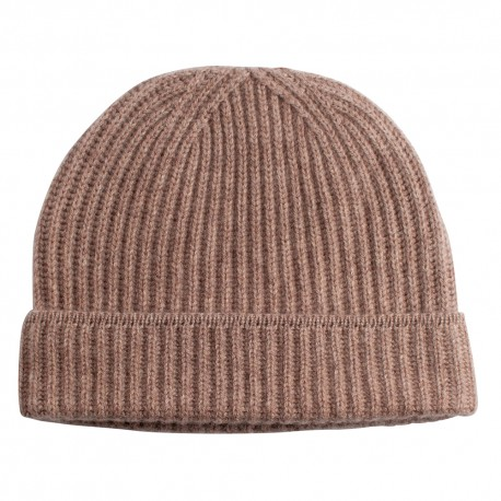 Beige beanie knitted in pure cashmere