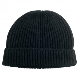 Black knitted beanie in pure cashmere