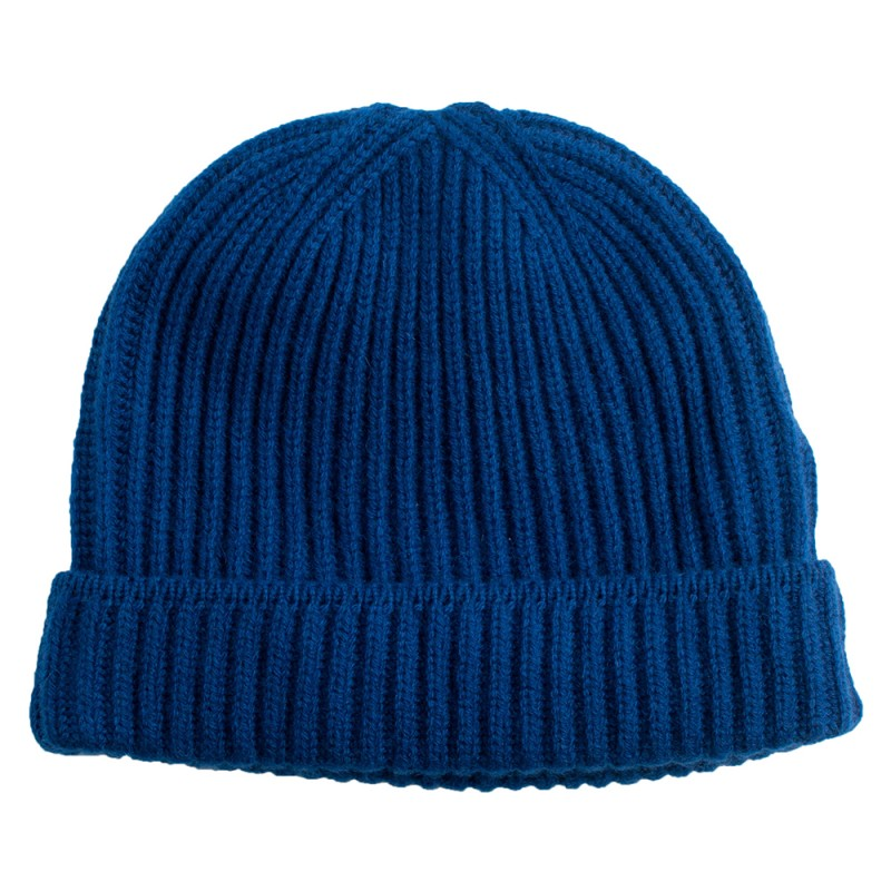 Knitting Pattern For Cashmere Beanie : Beautiful dark blue knitted beanie in cashmere