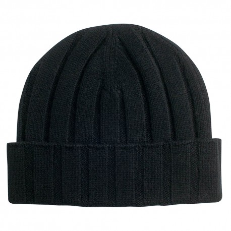 Black knitted hat in pure cashmere