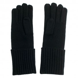 Black knitted gloves in pure cashmere