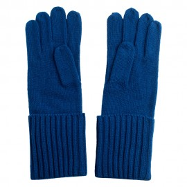 Dark blue gloves knitted in pure cashmere
