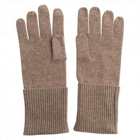 Beige knitted cashmere gloves