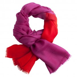 Two coloured shaded pashmina shawl in purple and coral