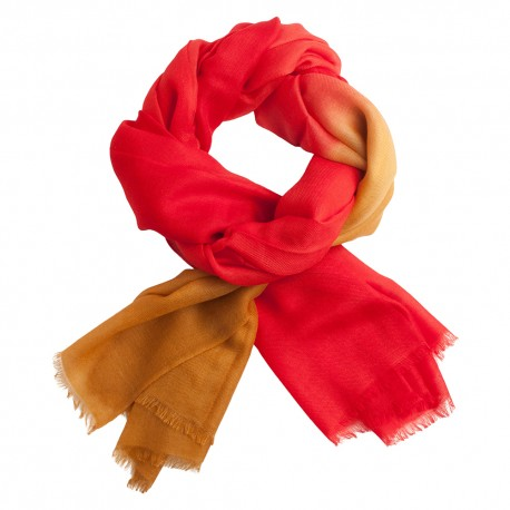 Shaded pashmina shawl in red and golden