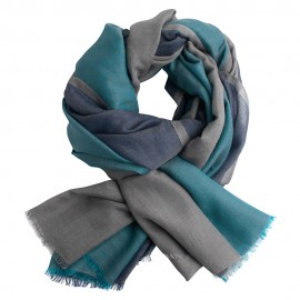 Three coloured pashmina shawl in petrol and grey