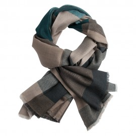 Checkered pashmina shawl in green, caramel, beige and grey