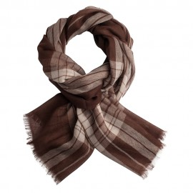 Tartan pashmina shawl in chocolate and cream