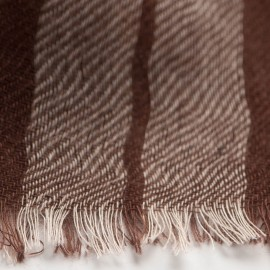 Tartan pashmina shawl in chokolate and cream