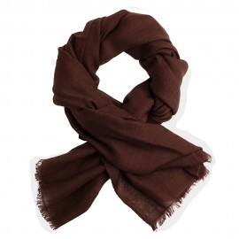 Dark brown pashmina stole in diamond weave