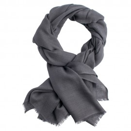 Dark grey pashmina stole in diamond weave