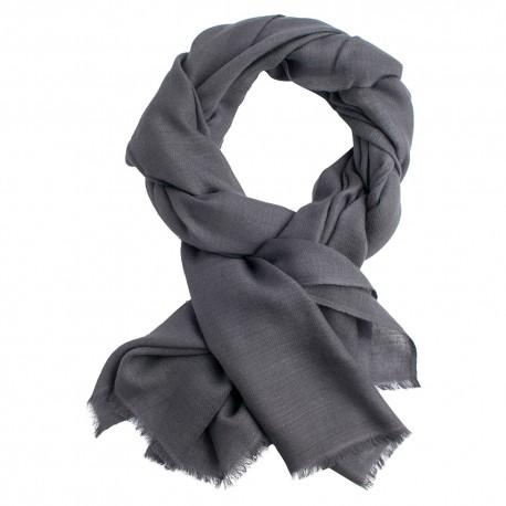 Dark grey pashmina stole in diamond weave
