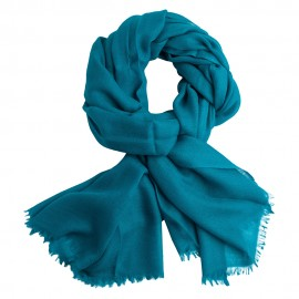 Petrol blue pashmina stole in diamond weave