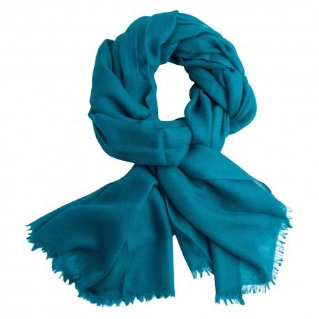 Petrol blue pashmina stole in diamond weave
