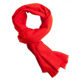Coral red pashmina scarf in twill weave