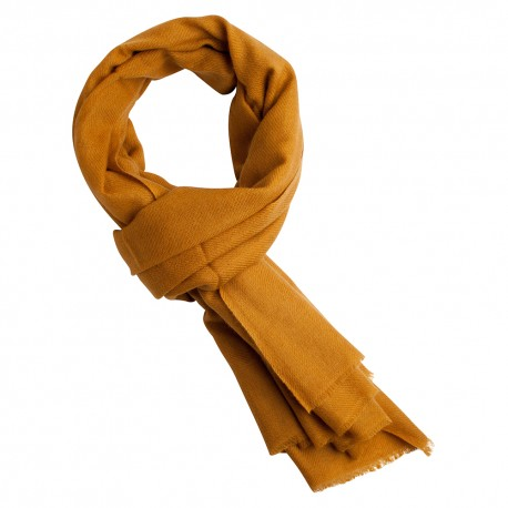 Dark golden pashmina scarf in cashmere