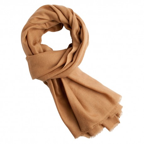 Toffee coloured pashmina scarf in twill weave