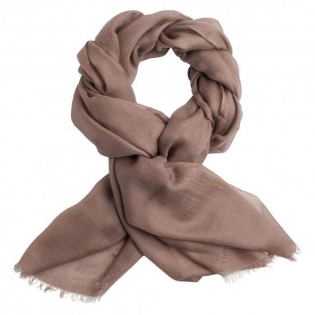 Grey brown pashmina shawl in 2 ply twill