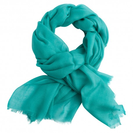 Turquoise pashmina shawl in 2 ply twill