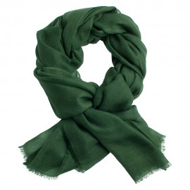 Army green pashmina shawl in 2 ply twill