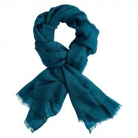 Petrol green pashmina shawl in 2 ply twill