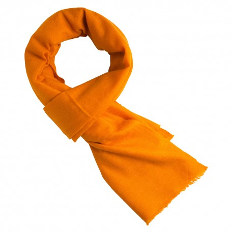 Orange cashmere scarf in twill weave