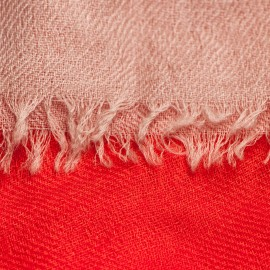 Three coloured cashmere shawl in coral, white and beige