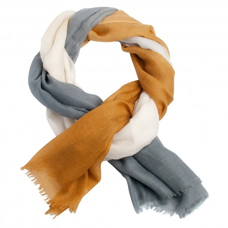 Three coloured cashmere shawl in golden, white and grey