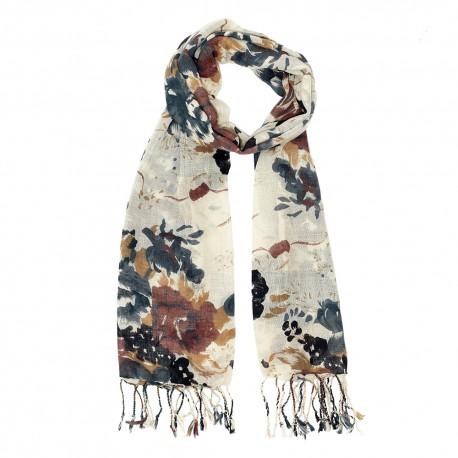Wool scarf with brown/black flower print