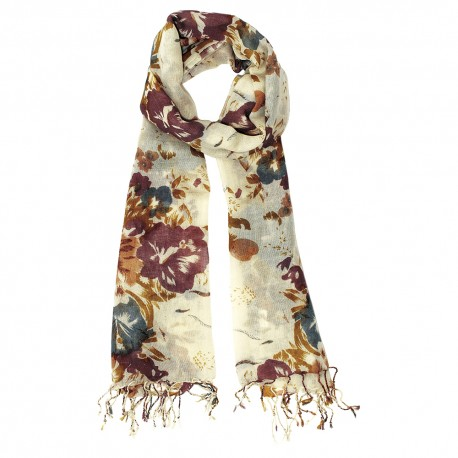 Wool scarf with flower print in golden colours