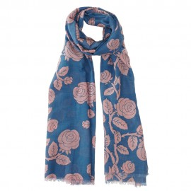 Blue scarf in silk mix with flowers