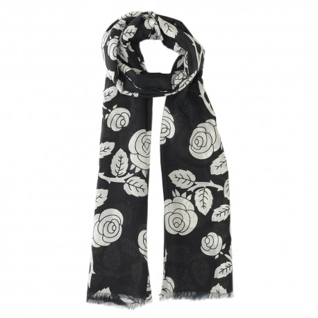 Black scarf in silk mix with flowers