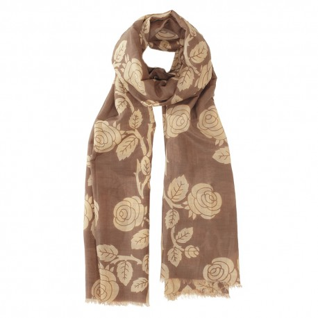 Brown scarf in silk mix with flowers