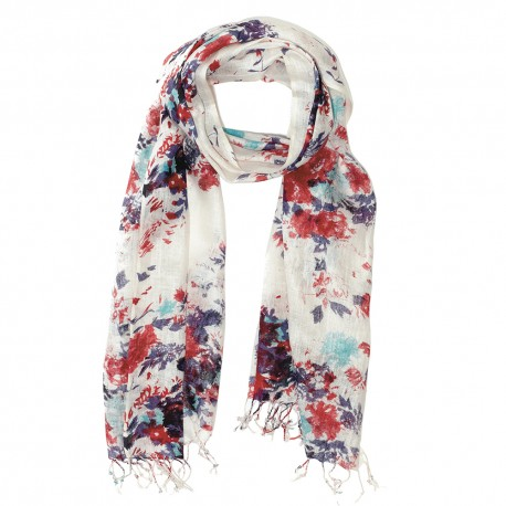 Scarf with flower print in red and blue
