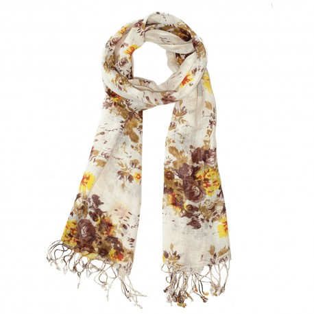 Scarf with flower print in earth tones