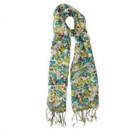 Scarf with flower print in green and blue